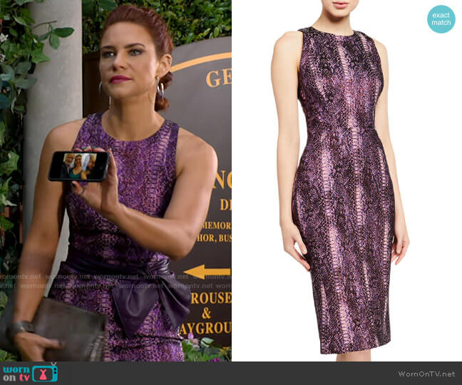 Zac Posen Python-Print High-Neck Dress worn by Sally Spectra (Courtney Hope) on The Young & the Restless