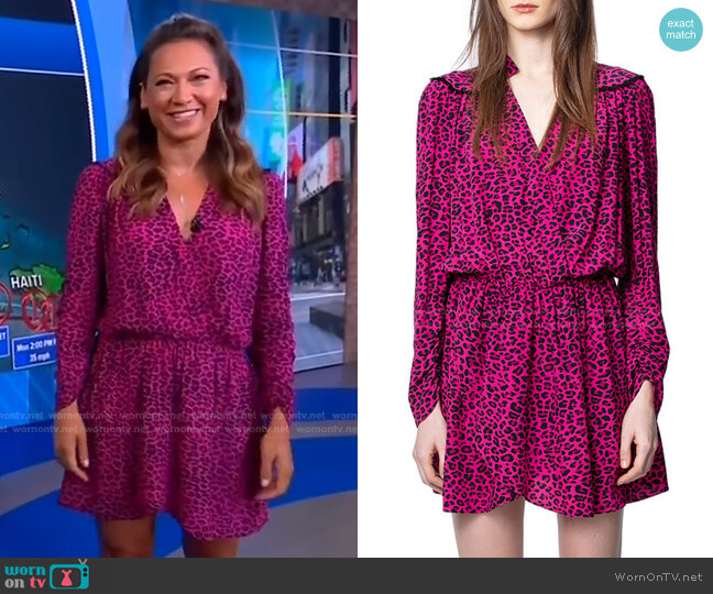 Reveal Leopard-Print Dress by Zadig & Voltaire worn by Ginger Zee  on Good Morning America