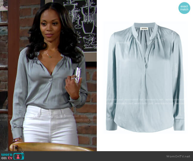 Zadig & Voltaire Tink Blouse worn by Amanda Sinclair (Mishael Morgan) on The Young & the Restless