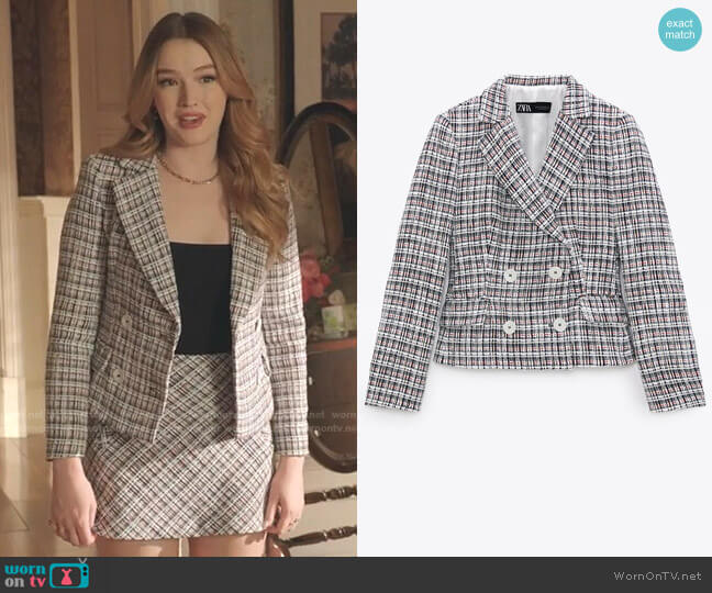 Double Breasted Textured Weave Jacket by Zara worn by Kirby Anders (Maddison Brown) on Dynasty