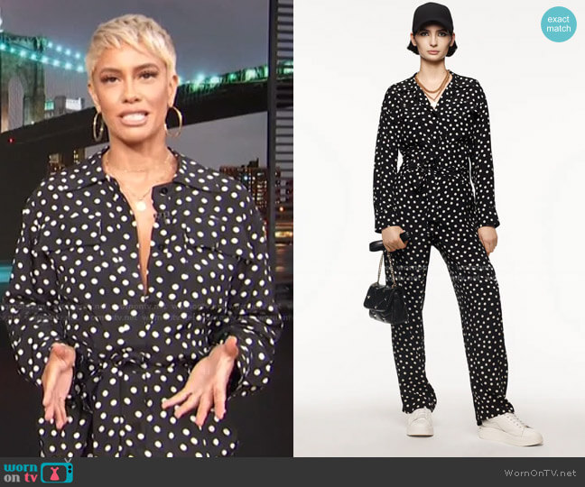 Polka Dot Jumpsuit by Zara worn by Sibley Scoles  on Access Hollywood