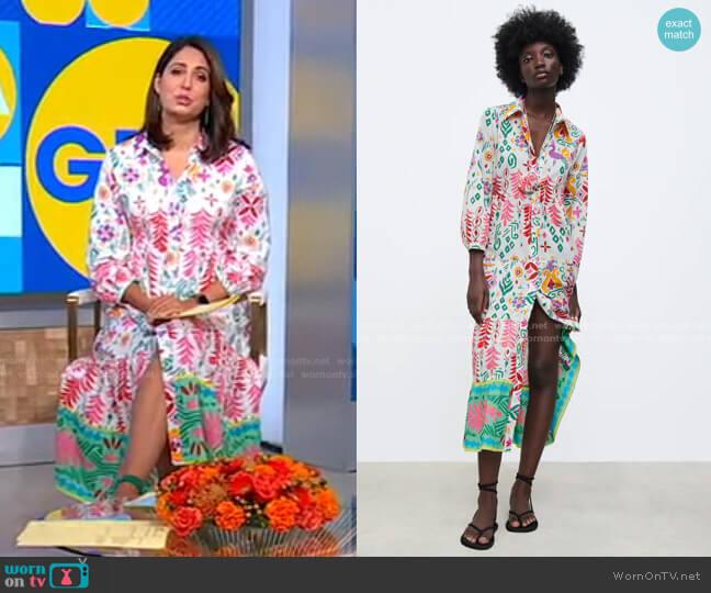 Printed Shirtdress by Zara worn by Cecilia Vega  on Good Morning America