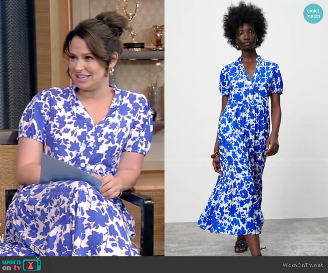 Printed Tiered Dress by Zara worn by Katie Lowes on Live with Kelly and Ryan
