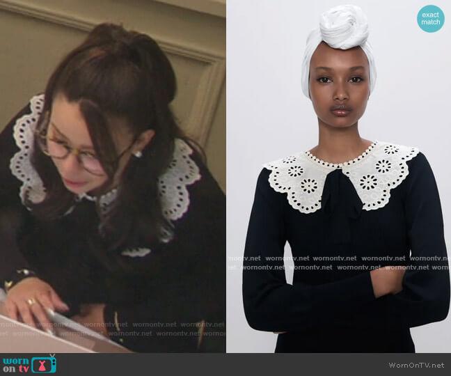Ribbed Contrasting Sweater by Zara worn by Mariana Foster (Cierra Ramirez) on Good Trouble