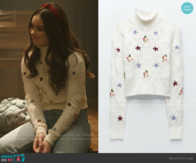 Zara Floral Knit Sweater worn by Bella Whitmore (Landry Bender) on The Republic of Sarah