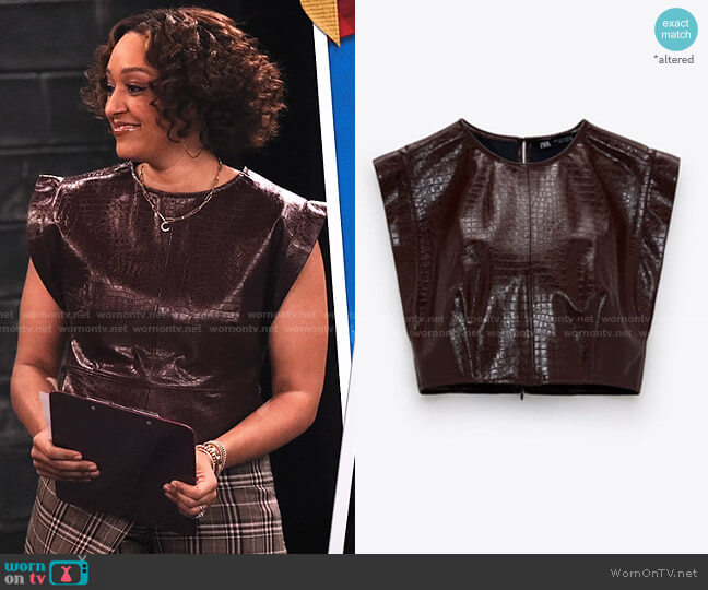 Faux Leather Crop Top by Zara worn by Cocoa McKellan (Tia Mowry-Hardrict) on Family Reunion