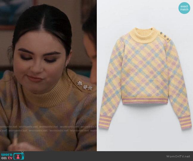 Zara Knit Argyle Sweater worn by Bella Whitmore (Landry Bender) on The Republic of Sarah