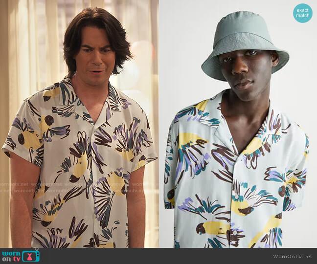 Zara Bird Print Shirt worn by Spencer Shay (Jerry Trainor) on iCarly