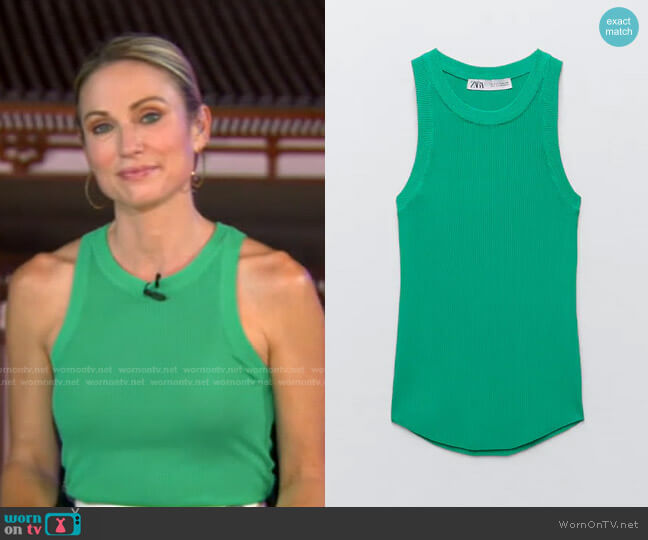 Ribbed Knit Top by Zara worn by Amy Robach  on Good Morning America