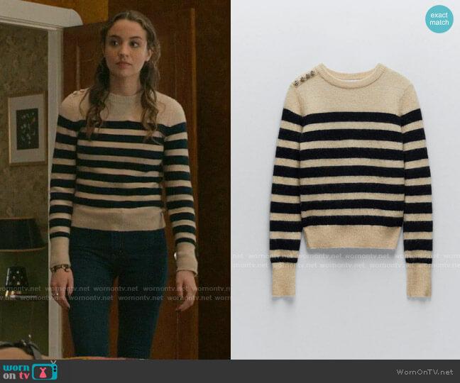 Zara Striped Wool Blend Sweater worn by Sarah Cooper (Stella Baker) on The Republic of Sarah