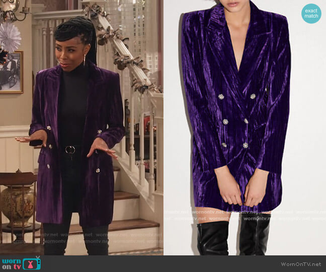 Velvet Blazer by Zara worn by Brittany Perry-Russell on Family Reunion