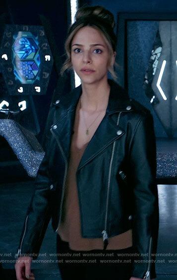 Zari's leather moto jacket on Legends of Tomorrow