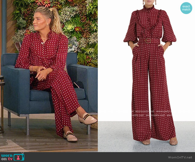 Ruffled high-neck polka-dot satin blouse and pants by Zimmermann worn by Amanda Kloots  on The Talk