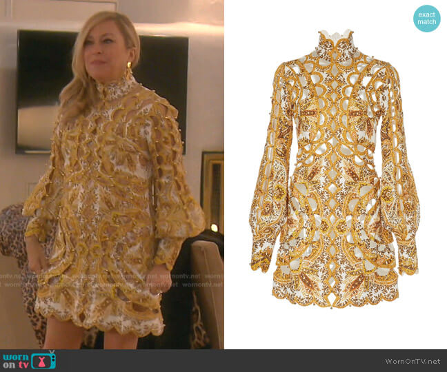 Zippy Scallop Mini Dress by Zimmermann worn by Sutton Stracke  on The Real Housewives of Beverly Hills