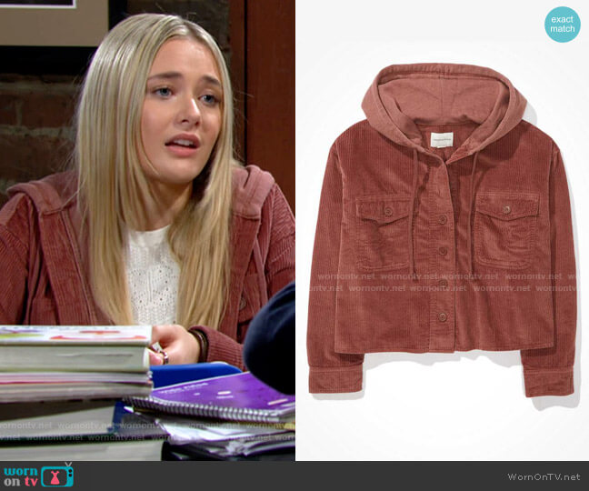 AE Cropped Corduroy Hooded Shirt Jacket worn by Faith Newman (Reylynn Caster) on The Young & the Restless