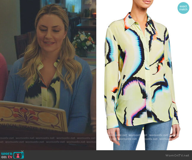 Jayne Printed Button-Down Top by A.L.C. worn by Alice Cooper (Mädchen Amick) on Riverdale