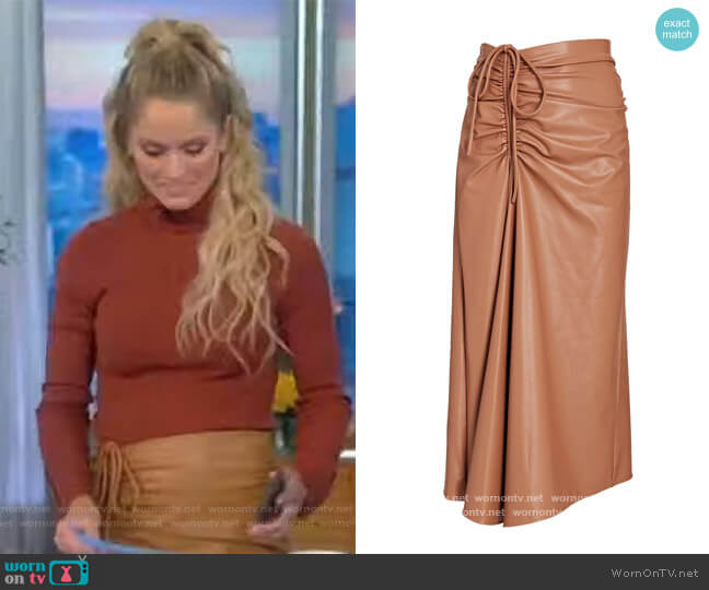Orly Ruched Vegan Leather Midi Skirt by A.L.C. worn by Sara Haines  on The View
