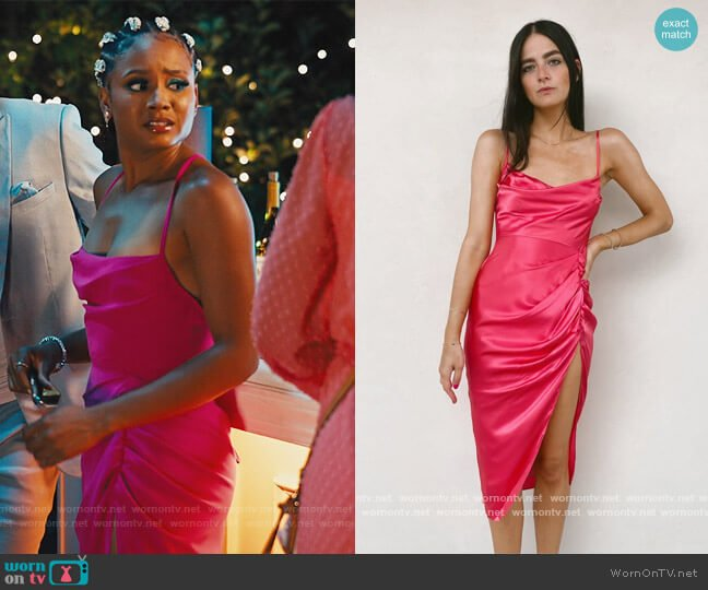 Jasalina Dress by Amanda Uprichard worn by Lauren Dupont (Rhyon Nicole Brown) on Our Kind of People