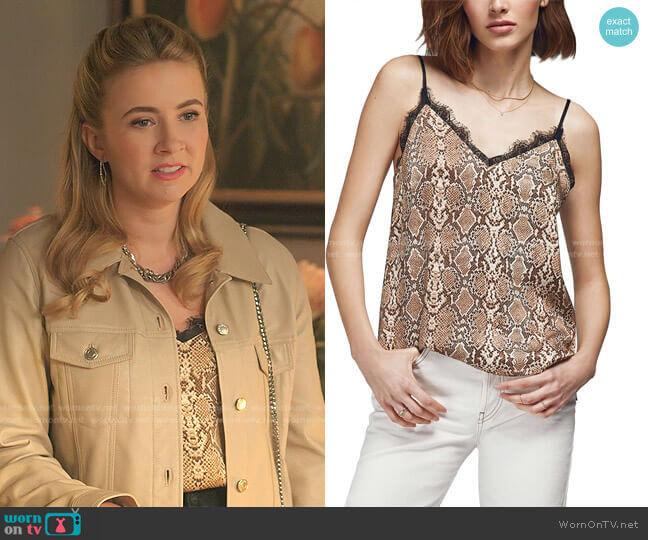 Python Silk Camisole by Anine Bing worn by Amanda Carrington (Eliza Bennett) on Dynasty