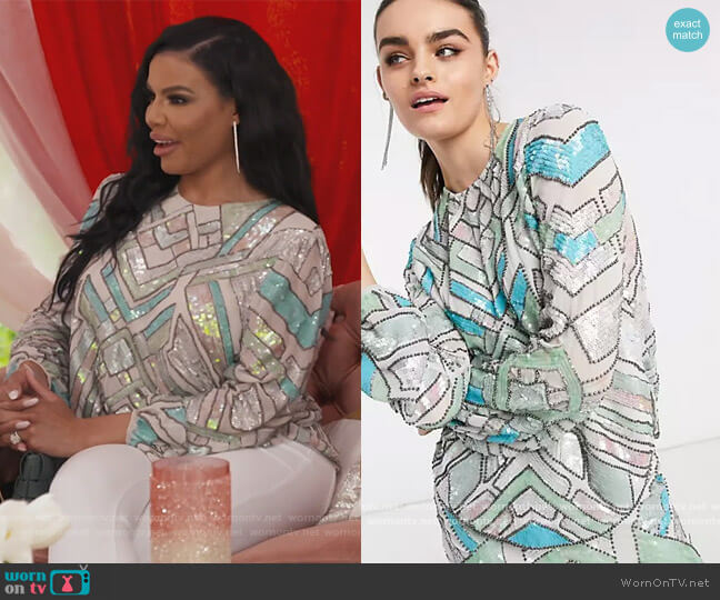 Aztec Multicolored Embellished Top by ASOS worn by Mia Thornton  on The Real Housewives of Potomac