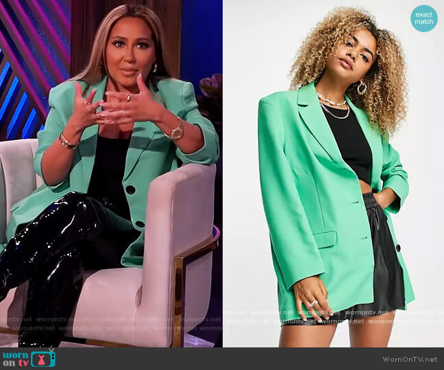 Oversized Grandaddy Blazer by ASOS worn by Adrienne Houghton  on The Real