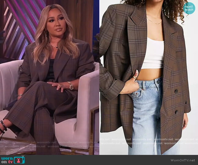 Premium Suit Blazer in heritage Check by ASOS worn by Adrienne Houghton  on The Real