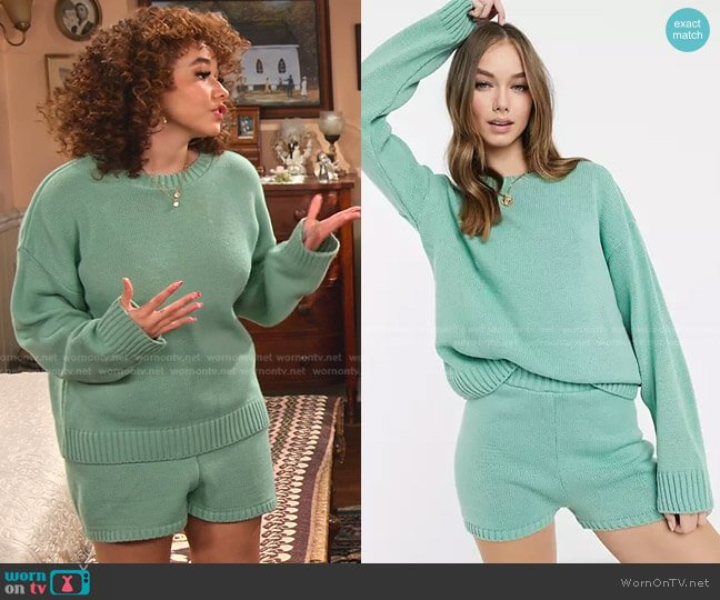 Crew Neck Sweater with Long Sleeve and Knitted Shorts by Asos worn by Jade (Talia Jackson) on Family Reunion