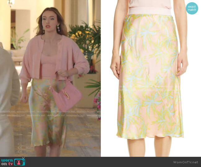 Palm Print Silk Charmeuse Slip Skirt by ATM Anthony Thomas Melillo worn by Kirby Anders (Maddison Brown) on Dynasty