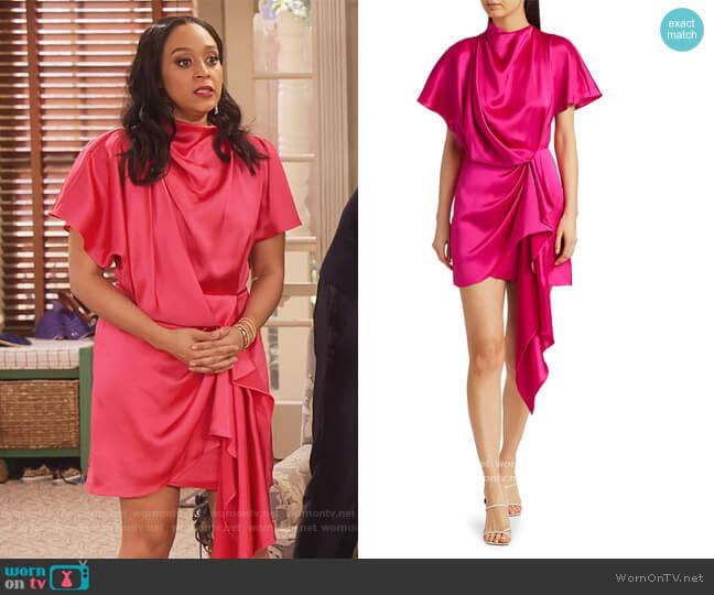 Lochner Satin Draped Dress by Acler worn by Jade (Talia Jackson) on Family Reunion
