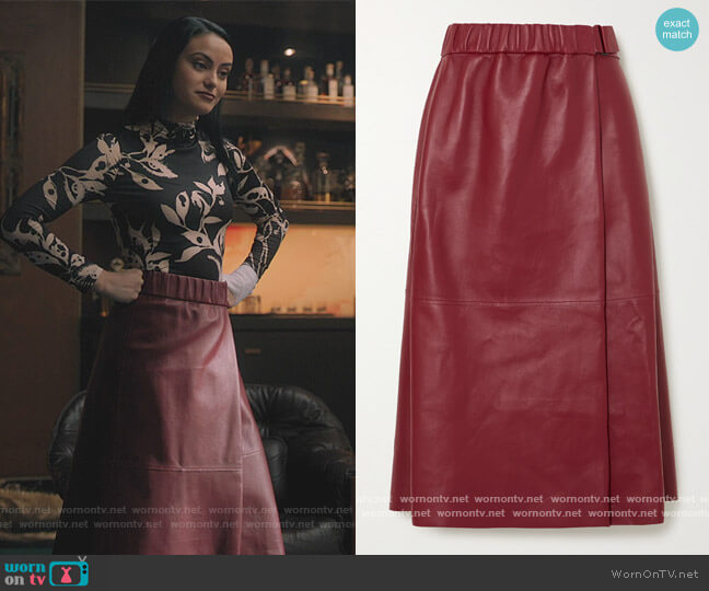 Leather wrap skirt by Acne Studios worn by Veronica Lodge (Camila Mendes) on Riverdale