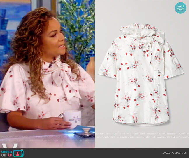 Bow-detailed floral-print silk-twill blouse by Adam Lippes worn by Sunny Hostin  on The View