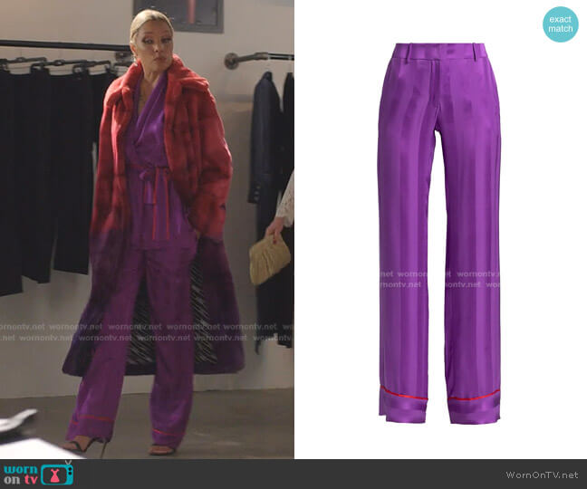 Olbia Piped Silk Pants by Adriana Iglesias worn by Dominique Deveraux (Michael Michele) on Dynasty