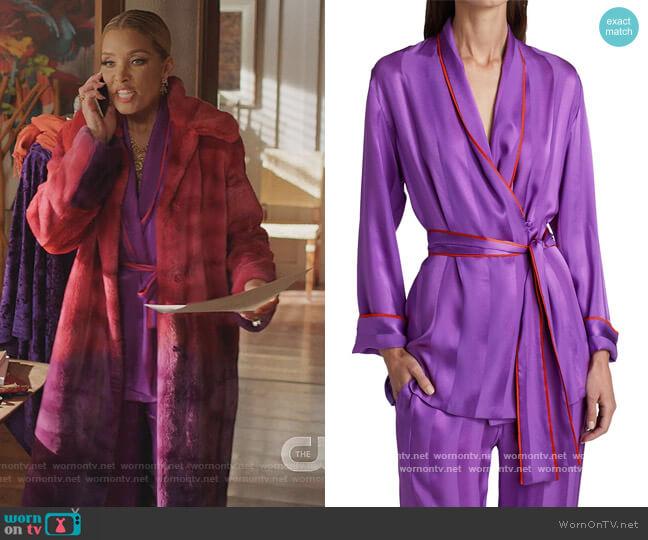 Waldorf Piped Silk Pajama Top by Adriana Iglesias worn by Dominique Deveraux (Michael Michele) on Dynasty