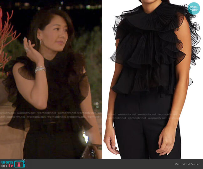 Sleeveless Ruffle Chiffon Blouse by Alberta Ferretti worn by Crystal Kung Minkoff  on The Real Housewives of Beverly Hills