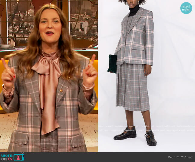 Plaid-check Print Blazer and Trousers by Alberta Ferretti worn by Drew Barrymore  on The Drew Barrymore Show