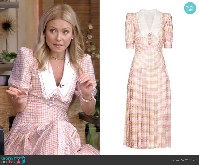 Lace-Trimmed Houndstooth Midi Dress by Alessandra Rich worn by Kelly Ripa  on Live with Kelly & Ryan