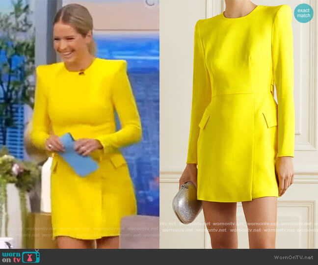 Rae draped satin-crepe mini dress by Alex Perry worn by Sara Haines  on The View