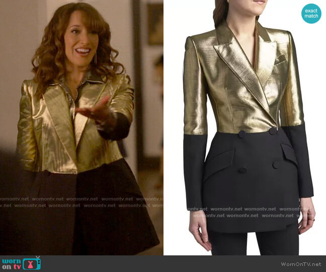 Alexander McQueen Bicolor Double-Breasted Blazer worn by Bette Porter (Jennifer Beals) on The L Word Generation Q