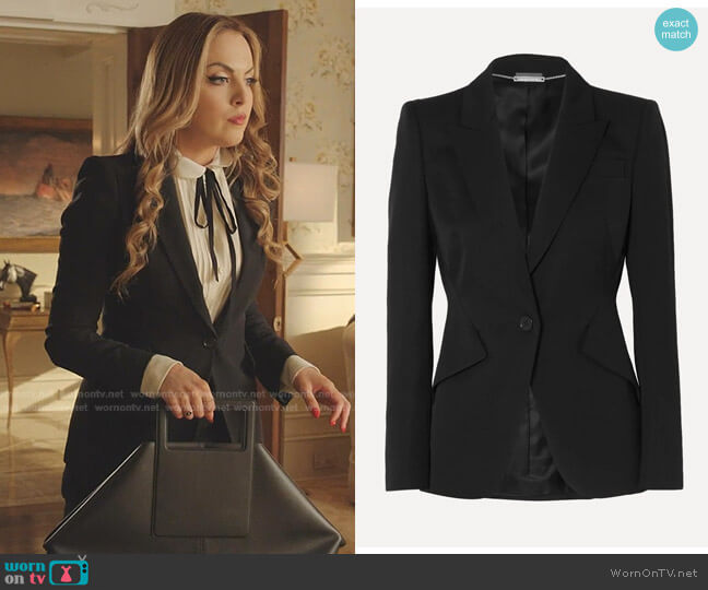 Classic Single-Breasted Suiting Blazer by Alexander McQueen worn by Fallon Carrington (Elizabeth Gillies) on Dynasty