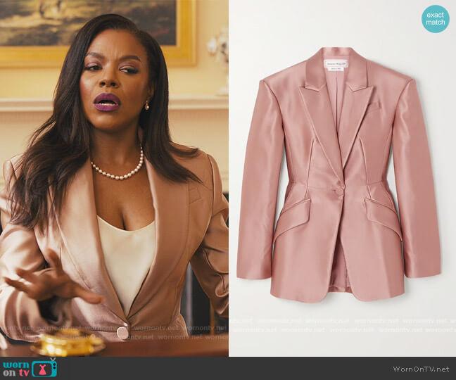 Duchesse silk-satin blazer by Alexander McQueen worn by Leah Franklin-Dupont (Nadine Ellis) on Our Kind of People
