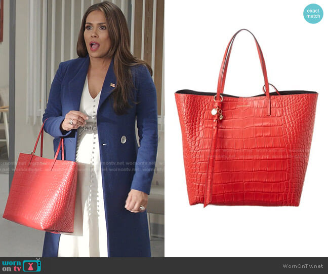Skull Croc-Embossed Leather Tote by Alexander McQueen worn by Cristal Jennings (Daniella Alonso) on Dynasty