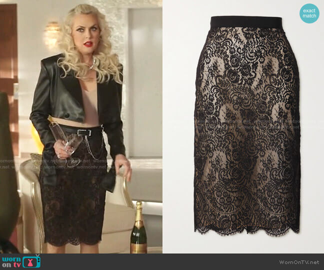 High-Waisted Lace Pencil Skirt by Alexander McQueen worn by Alexis Carrington (Elaine Hendrix) on Dynasty
