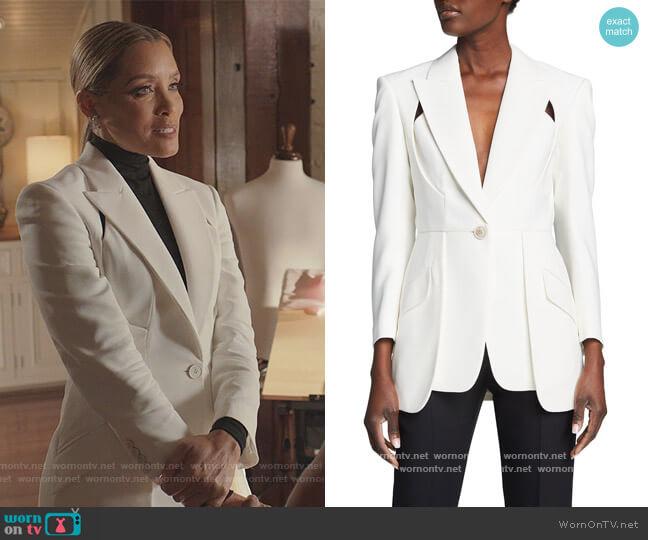 Crepe Cutout Blazer Jacket by Alexander McQueen worn by Dominique Deveraux (Michael Michele) on Dynasty