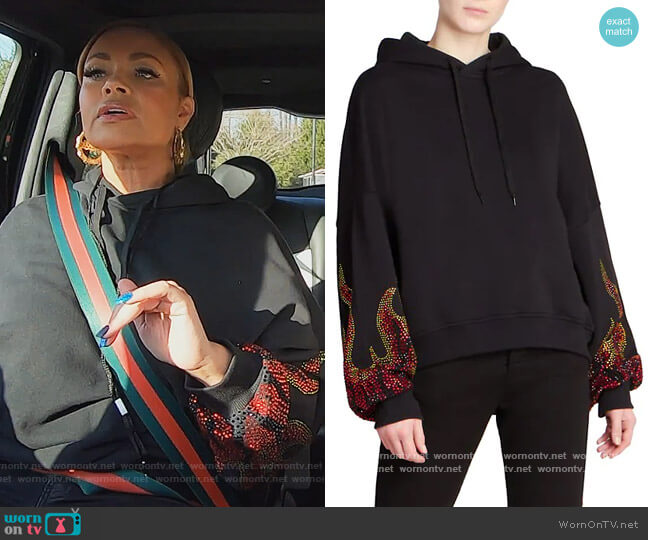 Rhinestone Flame Cropped Hoodie by Alexandre Vauthier worn by Gizelle Bryant  on The Real Housewives of Potomac