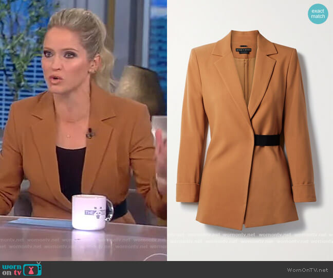 Hattie crepe wrap blazer by Alice + Olivia worn by Sara Haines  on The View
