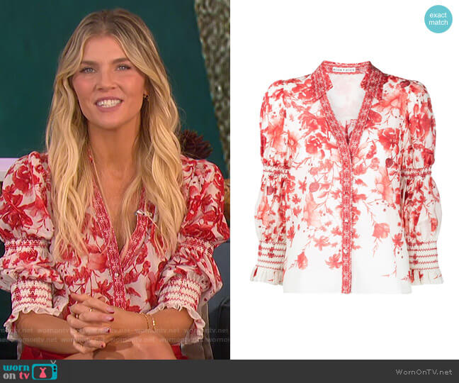 Floral Print Long Sleeved Shirt by Alice + Olivia worn by Amanda Kloots  on The Talk