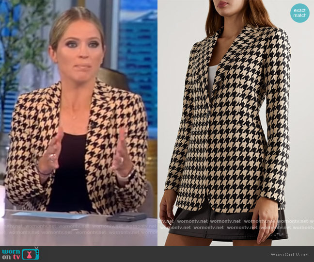 Willa Houndstooth Shirt by Alice + Olivia worn by Sara Haines  on The View