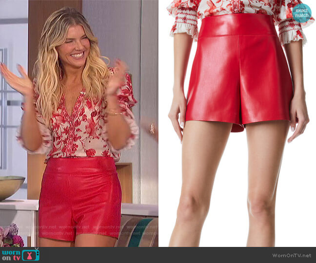 Donald Vegan Leather Shorts by Alice + Olivia worn by Amanda Kloots  on The Talk