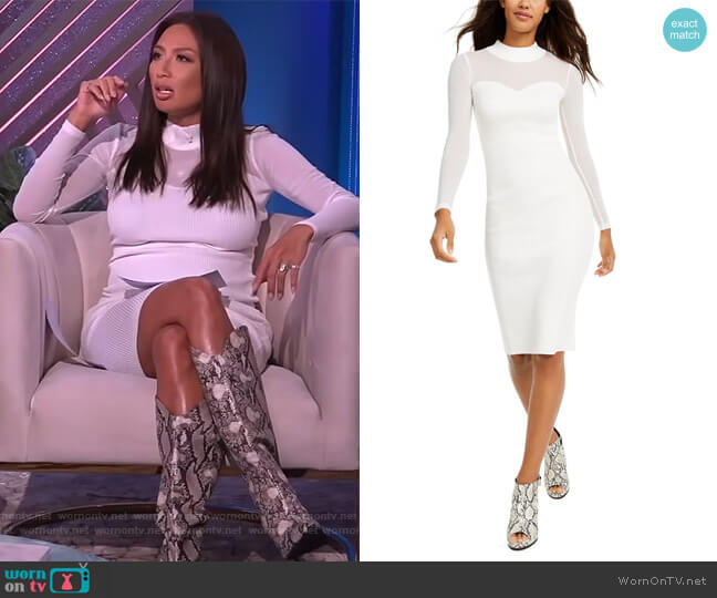 Illusion-Mesh Sweater Dress by Almost Famous worn by Adrienne Houghton  on The Real
