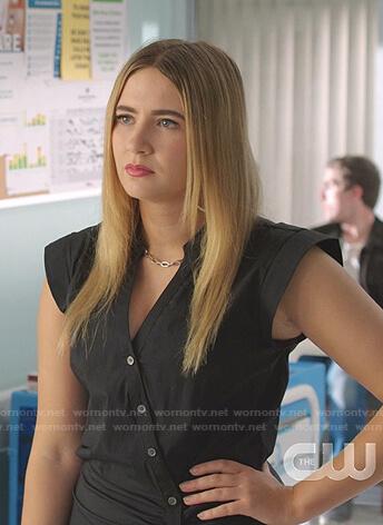 Amanda's black asymmetric button shirtdress on Dynasty